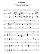 Genevan Psalm 116 for Choir and Organ
